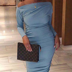 CBR boat neck long sleeve ruched bottom dress Sz L